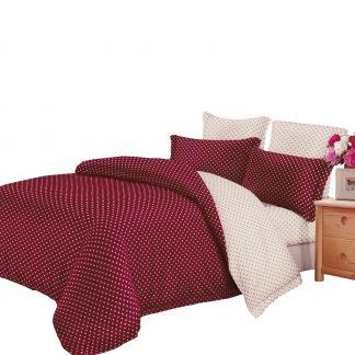 Lenjerie de pat 6 piese, roșu închis crem polka dots