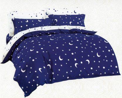 Lenjerii de pat 6 piese albastru bleumarin ultramarin Mely