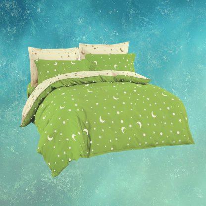 Lenjerii de pat 3 piese verde crud stele semiluna