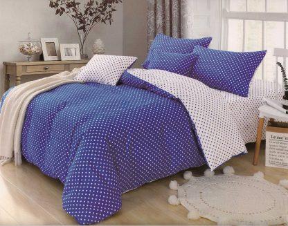Lenjerii de pat 6 piese albastru bleumarin alb buline