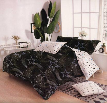Lenjerii de pat 6 piese negru alb stelute